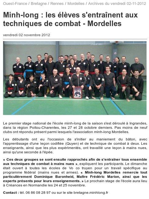 Article Ouest France 2nov2012