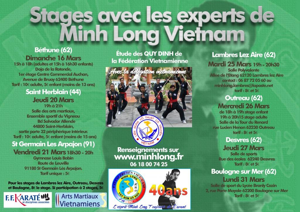Affiche Tournée Minis-Stages Minh Long - Mars 2014