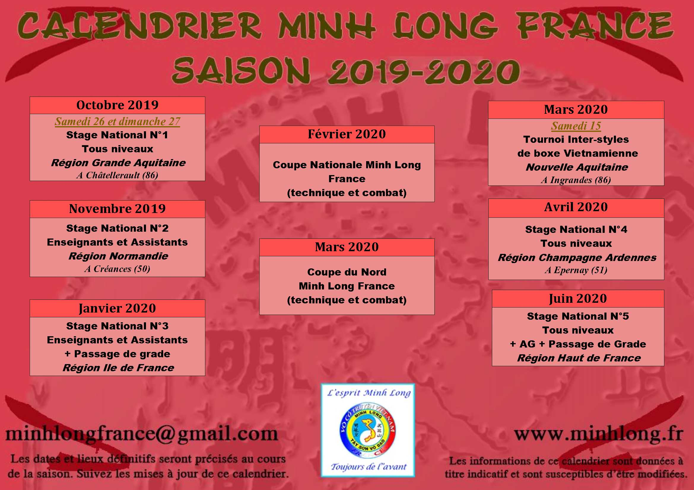 Calendrier Ffkda 2019 2020.Stage National Chatellerault 86 Minh Long France
