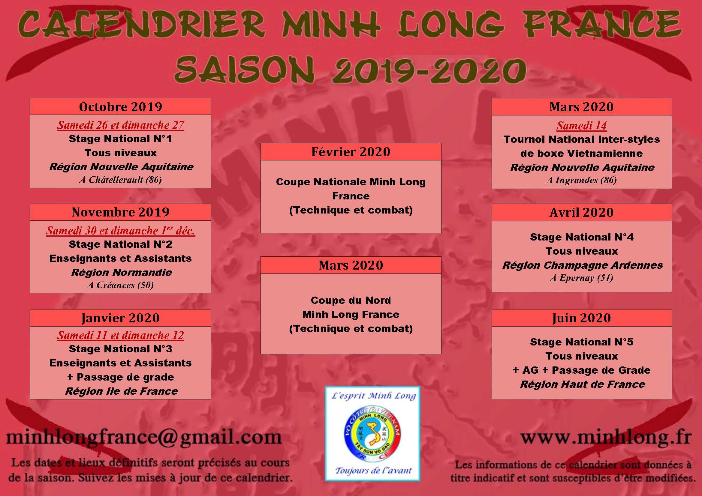 Calendrier Ffkda 2019 2020.Novembre 2014 Minh Long France